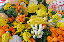 Beautiful Thai Style Carving Fruits And Vegetables In Fish Among Sea Anemones Shaped. Royal Thai Cuisine Decorative Style. Selective Focus