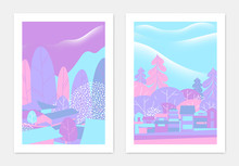 Spring Landscape Poster Design, Small Village And Cherry Blossom Trees, Purple And Blue Tones
