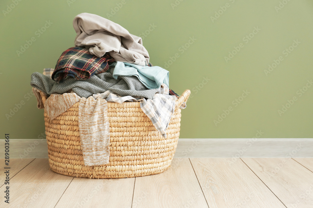 Fototapety, obrazy: Basket with dirty laundry on floor
