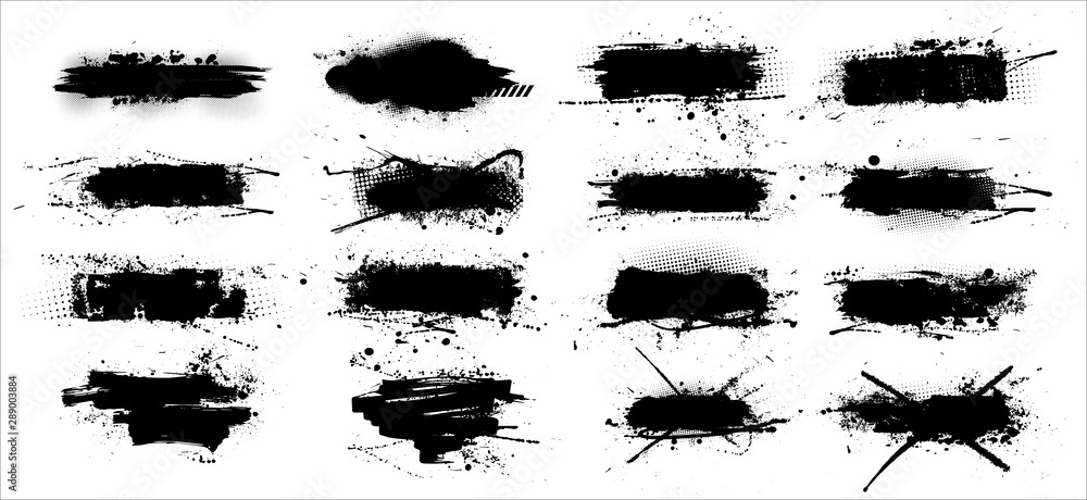 Fototapety, obrazy: Ink splashes stencil - vector set. High quality manually traced. Black inked splatter dirt stain splatter spray splash with drops blots isolated. Vector grunge silhouette collection color dirty liquid