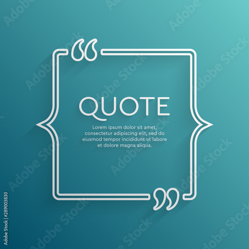 Vector template blank square creative white quote