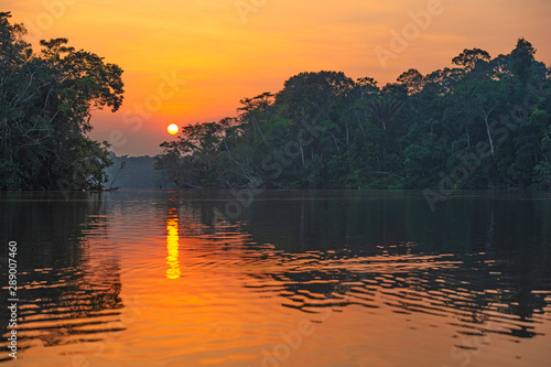 Reflection of a sunset by a lagoon inside the Amazon Rainforest Basin Wallpaper Mural