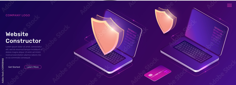 Fototapeta Online electronic payment isometric concept vector illustration. Golden shield, open laptop with digital code on the screen and credit card on ultraviolet background, web banner, landing page