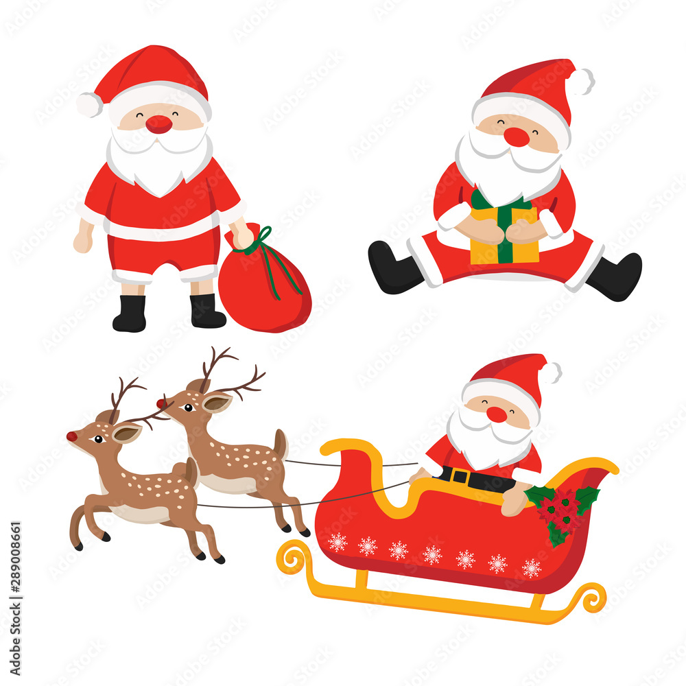 Fototapety, obrazy: Set of santa claus character illustration for Christmas.