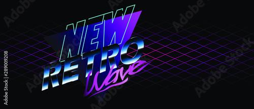 Photo New Retro Wave Neon Illustration background, sticker or banner