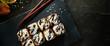 Leinwanddruck Bild Chocolate Maki Sushi Pancake Rolls Stuffed with Fruits and Cheese