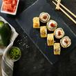 Leinwanddruck Bild Deep Fried Sushi Rolls with Salmon and Philadelphia Cream Cheese