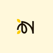 Letter N Leaf Naturally Business Logo