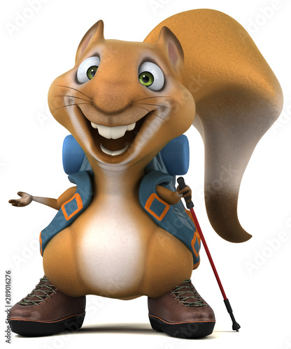 Fotomural  Fun 3D squirrel backpacker cartoon character