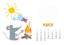 March. Vector Calendar Page Wi...