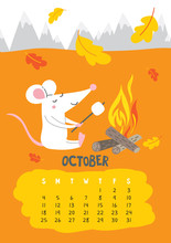 October. Vector Calendar Page ...