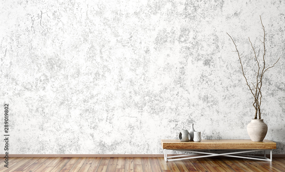 Fototapeta Interior with wooden side table against concrete wall 3d rendering