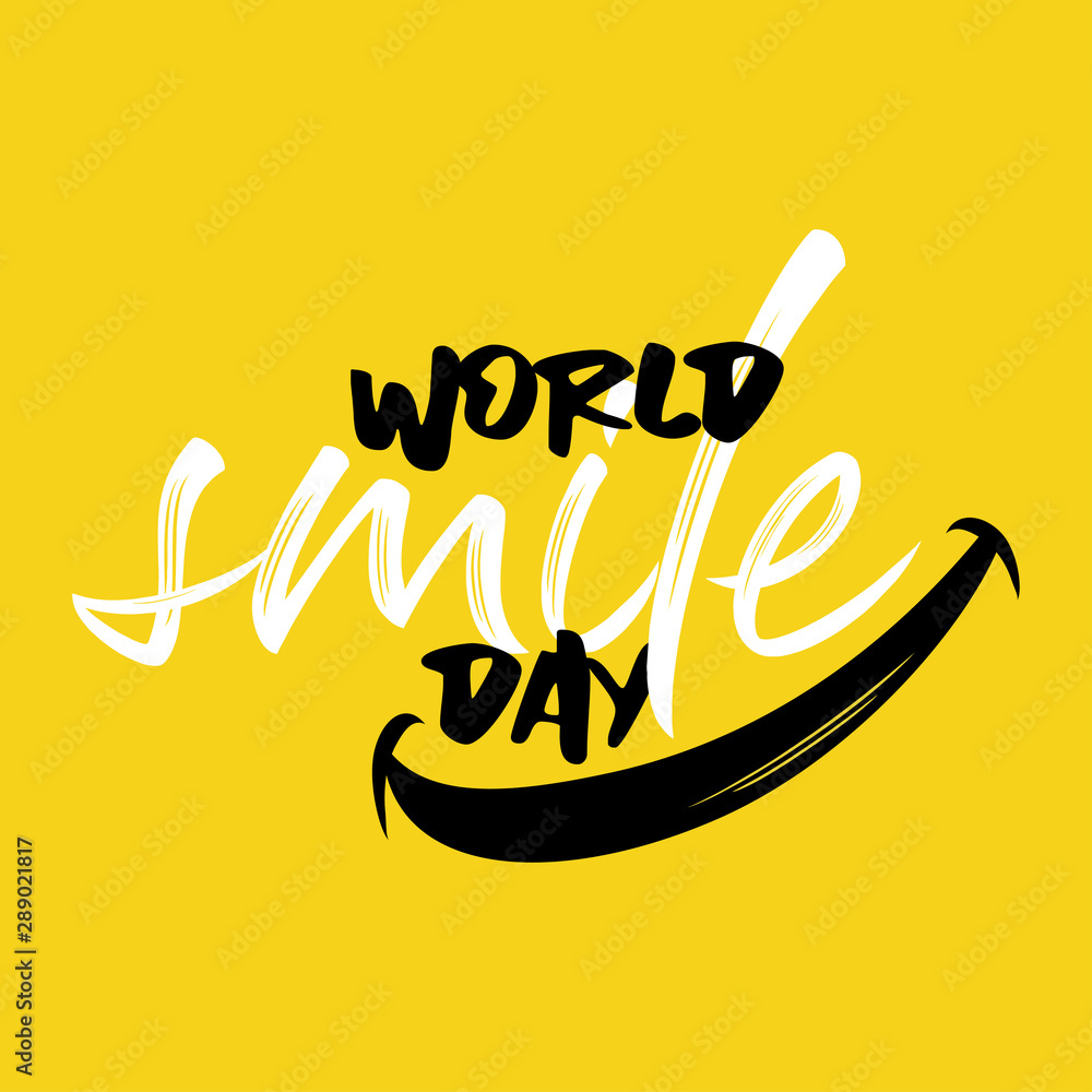 Fototapeta Happy world smile day banner vector illustration greeting design on yellow background creative concept lettering typography.