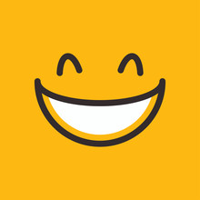 Happy Face Vector Illustration Icon Smile Element Yellow Color Hand Drawn Doodle Lineart