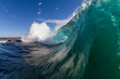dangerous wave breaking on a shallow reef at a popular surfing destination