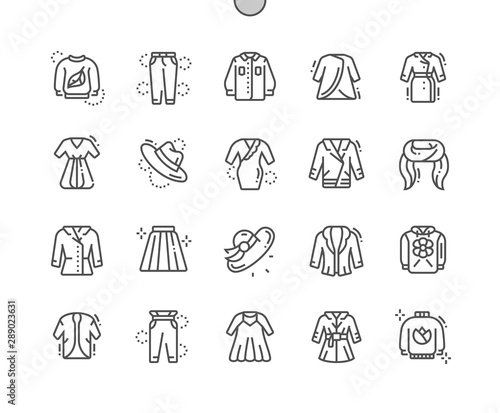 Fotomural  Spring clothes Well-crafted Pixel Perfect Vector Thin Line Icons 30 2x Grid for Web Graphics and Apps