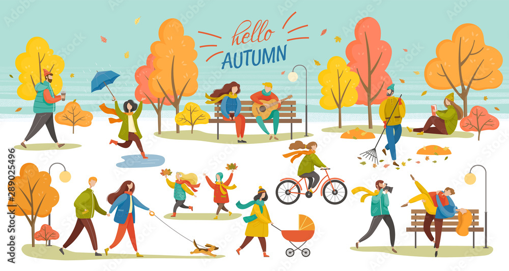 Fototapeta Hello autumn vector, man and woman walking dog, couple in autumn park. Character with umbrella, lady with perambulator, family kid, bicycle riding hobby. Autumnal photo session in yellow park.