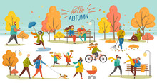 Hello Autumn Vector, Man And Woman Walking Dog, Couple In Autumn Park. Character With Umbrella, Lady With Perambulator, Family Kid, Bicycle Riding Hobby. Autumnal Photo Session In Yellow Park.
