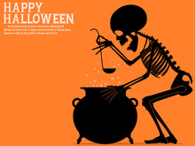 A Skeleton Is Cooking Halloween Soup.