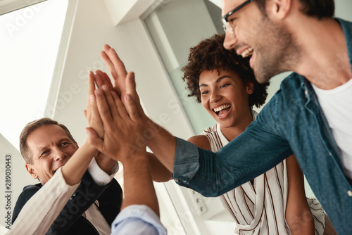 Obraz Celebrating success. Business people giving each other high-five and smiling while working together in the modern office - fototapety do salonu