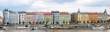 Prague Palaces With The Dancing House Or Fred And Ginger On The Vltava River