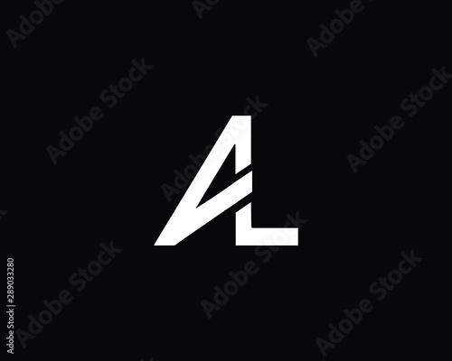Creative and Minimalist Letter AL Logo Design Icon, Editable in Vector Format in Canvas Print