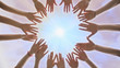 canvas print picture - A group of young people make a circle out of their hands. Diverse People Hands Together Partnership.