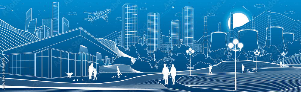 Fototapeta Outline industry and city illustration panorama. Evening town urban scene. People walking at garden. Night shop. Power Plant in mountains. White lines on blue background. Vector design art