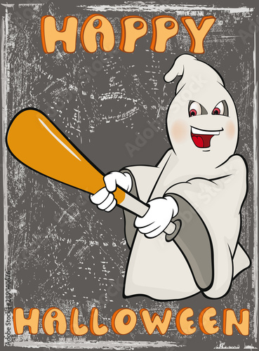 Poster Baby room Vector Happy Helloween Invitation Card with Cartoon Ghost Greeting Card Happy Moment