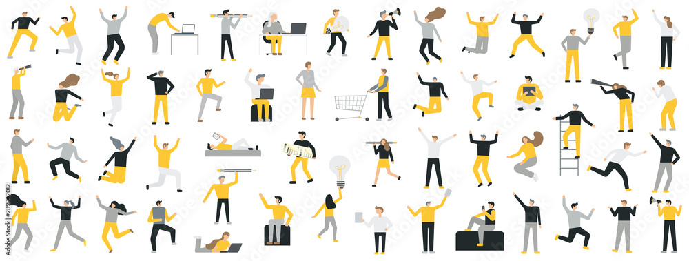 Fototapeta Set of business people flat icons. Flat style modern