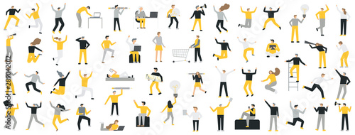 Set of business people flat icons. Flat style modern Wallpaper Mural