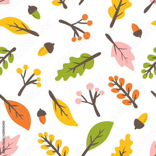 fototapeta na drzwi i meble Autumn leaves seamless pattern.