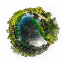 A Three Dimensional Panoramic View Of The Turquoise Spring Kiikunlahde In Hollola, Finland In A Mini Planet Panorama Style.