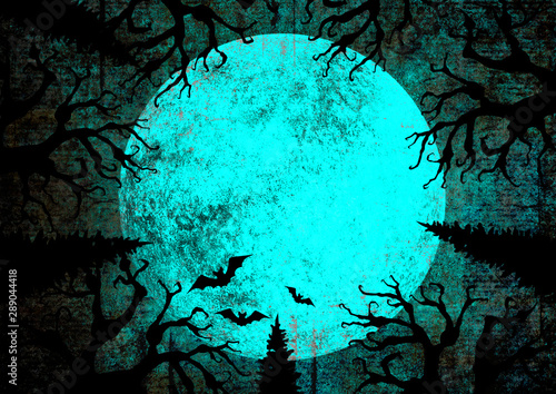 Foto auf Leinwand Turkis Halloween holiday blue teal black grunge background with full moon, silhouettes of bats and terrible dead trees