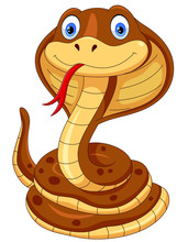 Cute Cobra Snake Cartoon Isola...