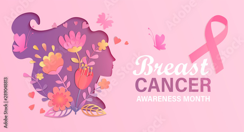 Fototapeta Breast cancer awareness month. World preventive health care initiative.Banner with paper cut woman face and flowers in her head,butterfly,pink ribbon, place for text.Poster, flyer.Vector illustration. obraz na płótnie