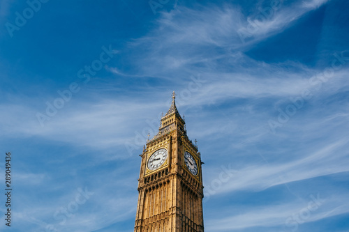 Big Ben Tower in London with blue sky Wallpaper Mural