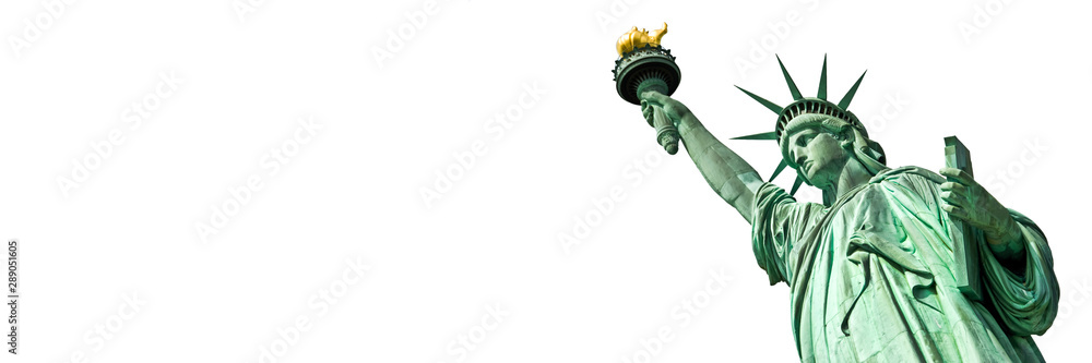 Fototapety, obrazy: Statue of Liberty in New York, isolated on white  panoramic background with copy space