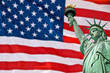 Statue of Liberty, USA flag background
