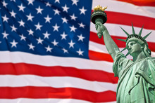 Statue Of Liberty, USA Flag Ba...