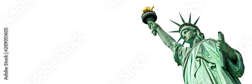 Statue of Liberty in New York, isolated on white  panoramic background with copy space