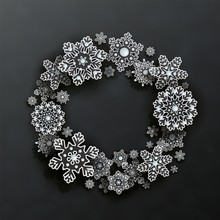 Christmas And New Year Wreath With 3d Transparent White Snowflakes And Space For Text On Black Background. Elegant Design In Papercut Style. Vector Illustration