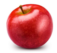 Red Apple Isolated On White. Apple Clipping Path. Professional Studio Macro Shooting