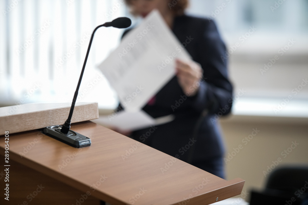 Fototapeta microphone in the courtroom of the Russian court