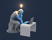 Sculpture Thinker With Laptop ...
