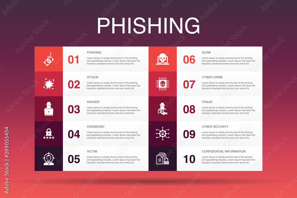 Fototapeta phishing Infographic 10 option template.attack, hacker, cyber crime, fraud icons
