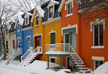 Victorian Colourful Houses Taken In Montreal, Canada