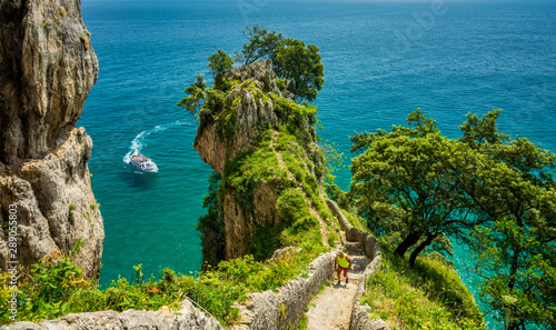 Steps to El Caballo lighthouse in Cantabria, Spain Canvas-taulu