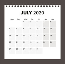July 2020 Calendar With Wire B...