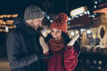Be My Wife. Portrait Of His He Her She Nice Attractive Charming Lovely Cheerful Cheery Glad Delighted Couple Wearing Warm Outfit Guy Making Life Partnership Proposal 14 February Engage Outdoors